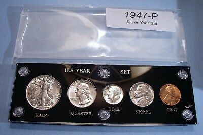 1947 SILVER SET of U.S. COINS LOOKS FULLY BRILLIANT UNCIRCULATED A REAL NICE ONE