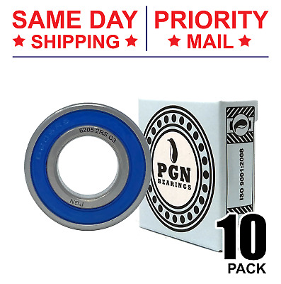 Lot of 10 PCS, 6205-2RS Premium Rubber Sealed Ball Bearing, 25x52x15, 6205RS
