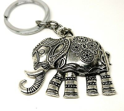 2 x Large Antique Silver Elephant Pendants 59mm x 48mm