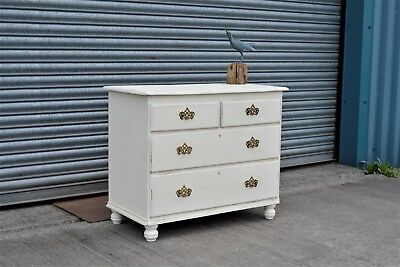Antique Pine Chest of Drawers Painted Shabby Chic Distressed.