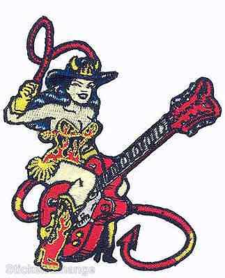 Guitar Girl Embroidered Iron-on Patch Vince Ray VRP9
