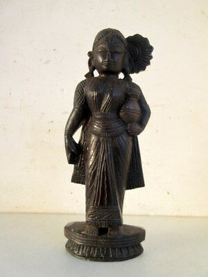 Antique Old Rare Hand Carved Rose Wood Indian Hindu Goddess Apsara Figure Statue