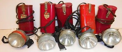 Vintage Lot of 4 Forester & 1 JustRite Govt Issue Head Lamps Wildland Fire CDF