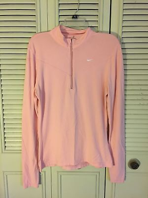 Womens  Nike Fit Dry 1/2 Zip Long Sleeve Athletic Pullover Pink Size M(8-10)