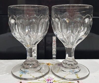 2 x Antique Victorian Drinking Glass c.1800's Small Wine Port Cocktails Toasting