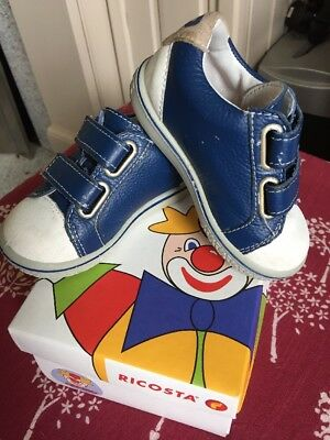Baby Leather Trainers By Ricosta Blue / White Sz 3.5  (20) ( Infants Size)