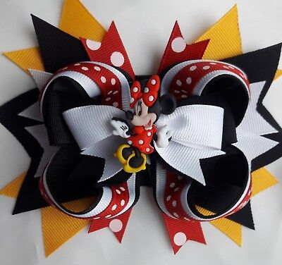 """MINNIE MOUSEHairBow 4"""" with alligator clip DISNEY VACATION"""