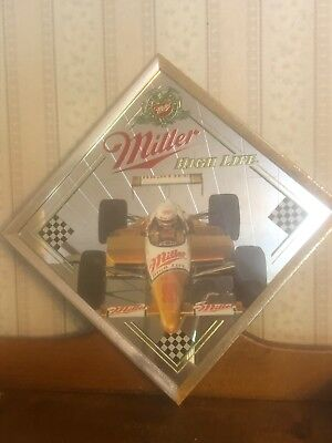 Vintage Miller Beer Indy Car Sign-Mirror-Picture-Indianapolis 500