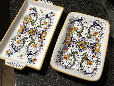 Set Of Two Beautiful Hand-Painted Ceramic Trays By Nova Deruta Made In Italy New
