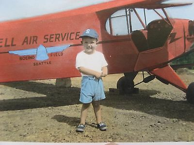 Boeing Field, SEATTLE~mid 1900s real photo little boy~Bell Air Service~airplane