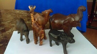 Lot of 5 Vintage hand carved wooden African animals