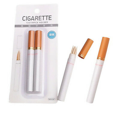 Outdoor Portable Two Sticks Cigarette Shape Toothpick Holder UY