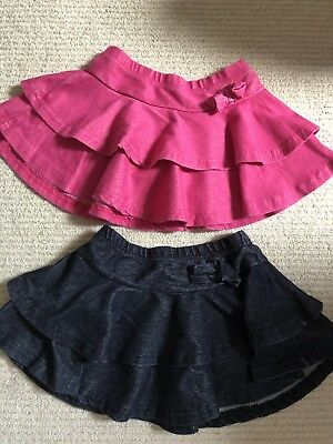 BHS Girls Denim And Pink Frill Skirts 12-18 Months 2-3 Years