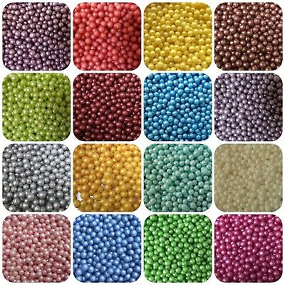 Edible Pearls Non Pareils Dragees Sugar Ball Silver White Red Pink Purple Bronze