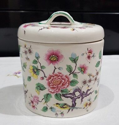 James Kent Old Foley Oval Lidded Jar Chinese Rose Canister Container