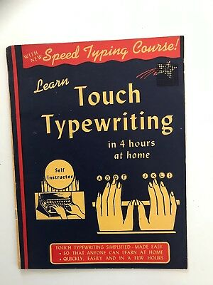 """Vintage """"Learn Touch Typewriting"""" 12 page instruction booklet, 1945"""