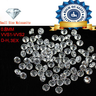 10pcs/Lot Small Size 0.8 mm White color Real Moissanite Round Shape