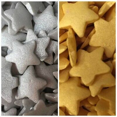 25g Edible Mini Gold Silver Sugar Star Cupcake Cake Sprinkles Decorations