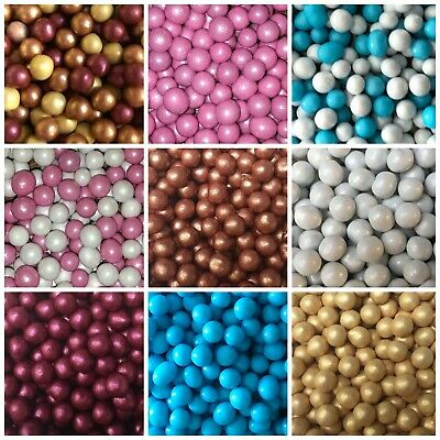 5mm Choco Pearls Pink Blue Gold White Non Pareils Dragees Balls Cake Decorations