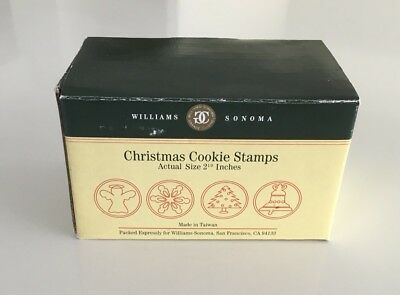 Vintage 4 Williams Sonoma Glass Christmas Cookie Stamps