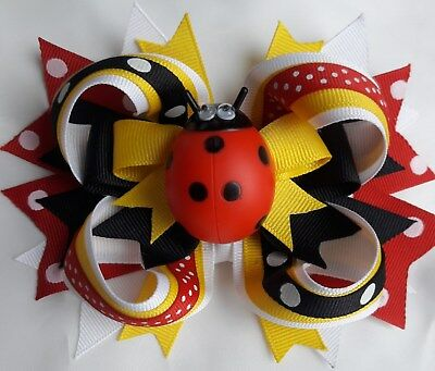 """LADY BUGHairBow 4"""" with alligator clip Moving eyes!"""
