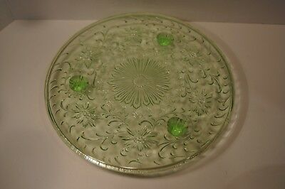 """Vintage 3 Footed 10"""" Green Depression Glass Cake Plate Maker Unknown Glows"""