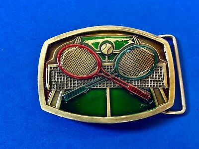 Vintage 1970's Table tennis, ping pong, Over the net Sports Belt Buckle Indiana