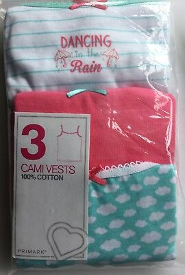 Girl 3 Pk Cami Vests in Multi Colours with Dancing in the Rain & Clouds detail