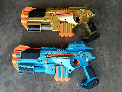 NERF Lazer Tag Phoenix LTX Electronic Blue Gold Lot Of 2 & 1 Pinpoint Site Scope