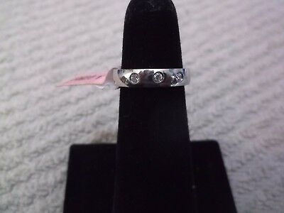 Stainless Steel & Cubic Zirconia Band/Ring - Size 5  NOS Retail $10.00