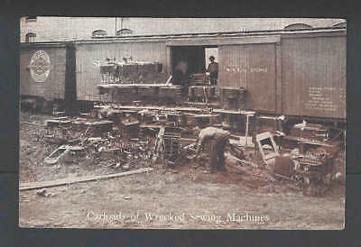 Ca 1914 PPC* Illinois Central RR Destroyed A Carload Of Sewing Machines See Info
