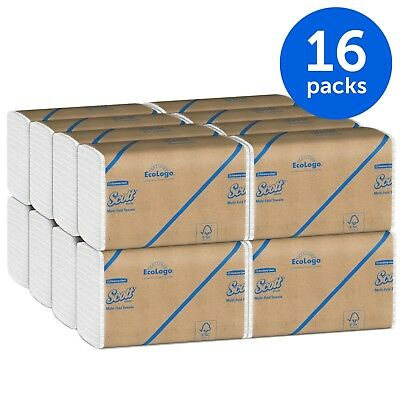 Scott Multifold Paper Towels Fast-Drying Absorbency Pockets White 16 Packs Case