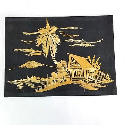 Asian Straw Bamboo Art Hand Crafted Picture on Canvas Village House Palm Trees