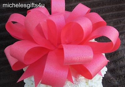 "Large Edible Red/Orange Cake Edible Wafer Paper Bow Ribbon 8""x8""x4"""