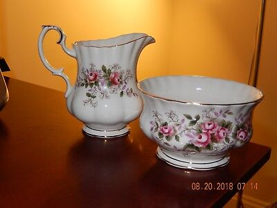 Royal Albert Small Cream Pitcher & Sugar Dish-Lavender Rose