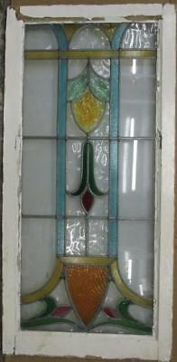 """LARGE OLD ENGLISH LEADED STAINED GLASS WINDOWStunning Drop Design 20.5"""" x 42.5"""""""
