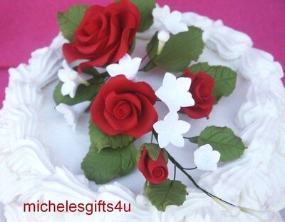 Gum Paste Sugar Dark Red Roses Rosebud Leaves White Flowers Cake Decorating