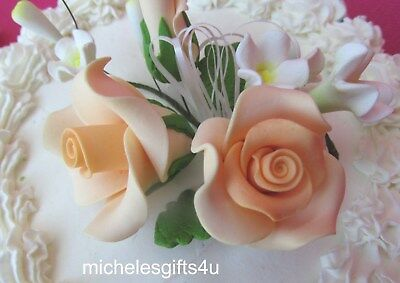 Gum Paste Sugar Pastel Peach Orange Roses Leaves & Ribbon Cake Flowers
