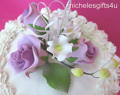 Gum Paste Sugar Pastel Lavender Roses Leaves & Ribbon Cake Flowers