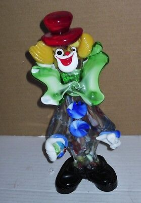 VTG Murano Art Glass Clown Hand Blown Italian Venetian Figurine Top Hat Happy