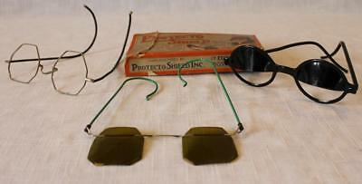 Protecto Shield Vintage Eye Glasses w Original Box + Two Other Pair Old Glasses