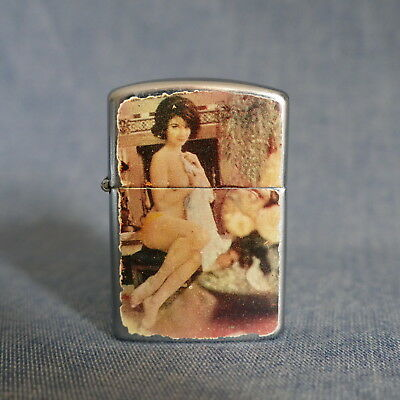 Vintage SMC Lighter Made in Japan Has a Nude Girl ~ Metal Case