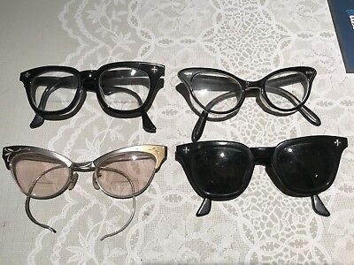 Lot of 4 Vintage 1950s Cat Eye Glasses Sunglasses Eyeglasses Aluminum & Black