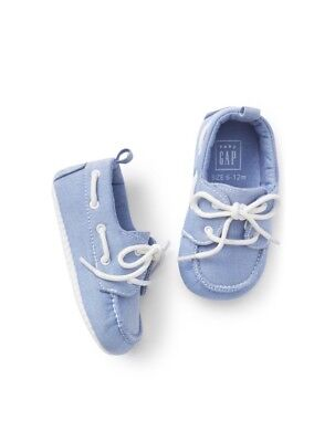 Gap Baby Boy Toddler Oxford Boat Shoes White Blue Lace-up Size 12-18 Months NWT