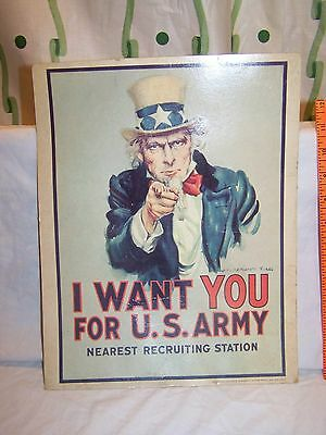 Vintage 1968 Vietnam War Era I WANT YOU FOR U.S. ARMY Recruiting sigh Uncle Sam
