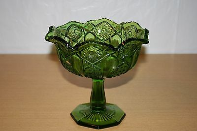 Green Glass Hobstar & Button Compote w/Octagon Base & Sawtooth Rim