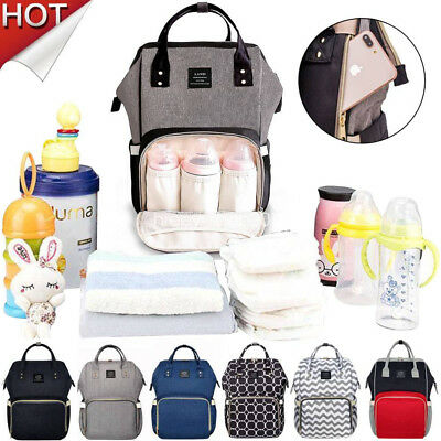 LAND Waterproof Large Mummy Nappy Diaper Bag Baby Travel Changing Backpack New
