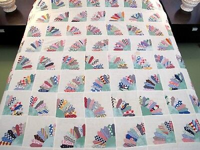 FULL Vintage Beautiful Feed Sacks Hand Sewn GRANDMOTHER'S FAN Quilt TOP, Good !