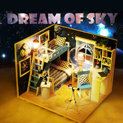 1:32 Scale Cute Doll House Dream of Sky Wooden Dollhouse Miniature girls Gift