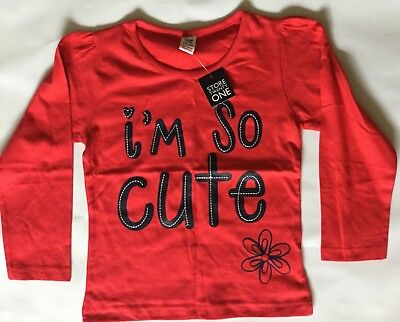 Girls Red Long Sleeve Top with I'm So Cute detail